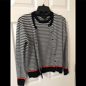 JCrew striped cardigan & shell navy blue, Medium